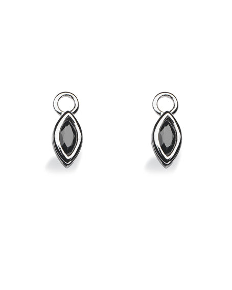 "Pair of earring hangers ""NAVETTE"" from Spinning Jewelry, featuring sterling silver with black cubic zirconia."