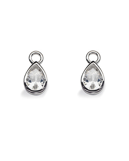 "Pair of earring hangers ""DROP"", model 1162-03 from Spinning Jewelry, featuring sterling silver with cubic zirconias."