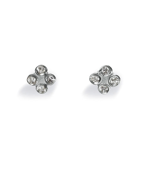 "Pair of studs ""FLASH"" from Spinning Jewelry, featuring sterling silver with cubic zirconias."