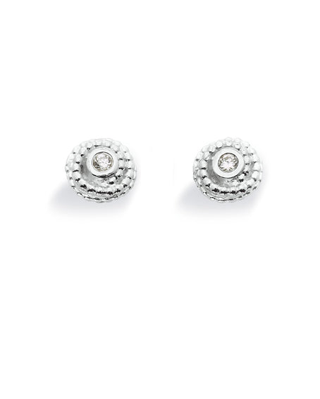 "Pair of studs ""FOSSIL"" from Spinning Jewelry, featuring sterling silver with cubic zirconias."