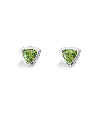 "Pair of studs ""TRILLION"" from Spinning Jewelry, featuring sterling silver with green cubic zirconias."