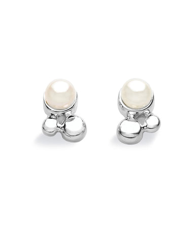 "Pair of studs ""BALLET"" from Spinning Jewelry, featuring sterling silver with freshwater pearls."