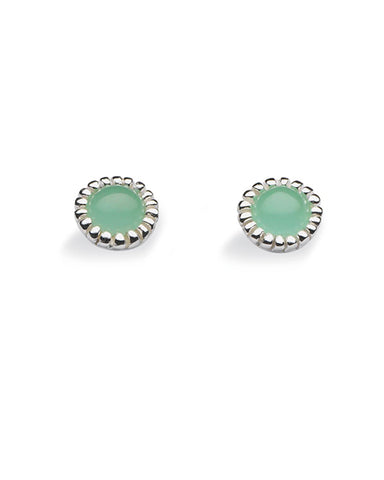 "Pair of studs ""ANTIQUE"" from Spinning Jewelry, featuring sterling silver with synthetic jade."