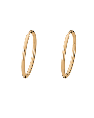 Pair of hoops in gold plated sterling silver from Spinning Jewelry.