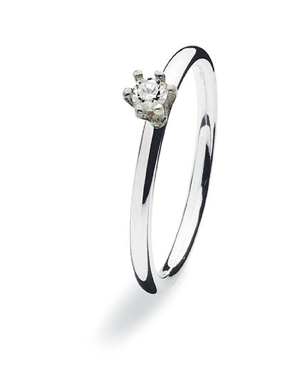 Sterling silver ring with classic clear cubic zirconia setting.