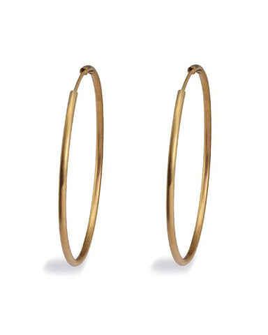 Pair of 'MAX HOOPS' in gold plated sterling silver from Spinning Jewelry.