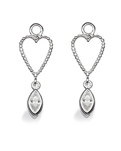 "Pair of earring hangers ""LONG CUPID"" from Spinning Jewelry, featuring sterling silver with cubic zirconias."