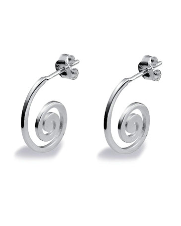 Pair of swirl shaped hoops in sterling silver from Spinning Jewelry.