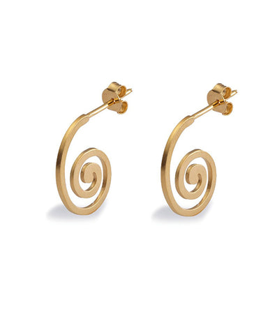 Pair of swirl shaped hoops in gold plated sterling silver from Spinning Jewelry.