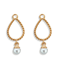 "Pair of earring hangers ""DRIPPING"" from Spinning Jewelry, featuring gold plated sterling silver with freshwater pearls."