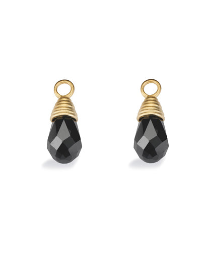 "Pair of earring hangers ""PRISM"" from Spinning Jewelry, featuring gold plated sterling silver with black cubic zirconias."