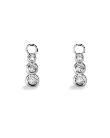 "Pair of earring hangers ""TRINITY"" from Spinning Jewelry, featuring sterling silver with cubic zirconias."