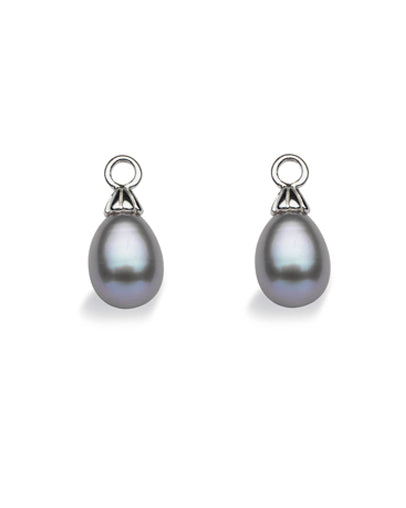 "Pair of earring hangers ""DROP PEARL"" from Spinning Jewelry, featuring sterling silver with grey freshwater pearls."