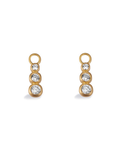 "Pair of earring hangers ""TRINITY"" from Spinning Jewelry, featuring gold plated sterling silver with cubic zirconias."