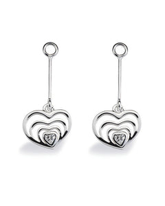 "Pair of earring hangers ""BLOOMING HEART"" from Spinning Jewelry, featuring sterling silver with cubic zirconias."