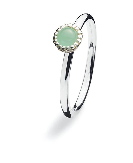 Sterling silver ring with synthetic jade setting.