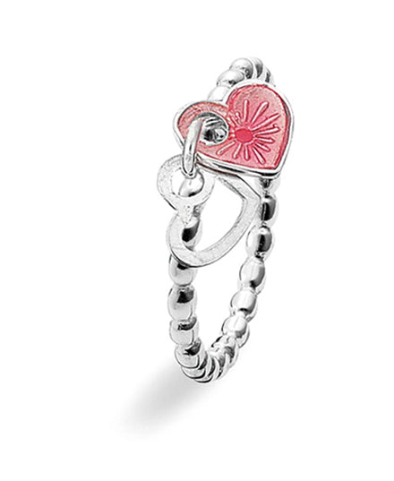 Sterling silver ring with pink enamel featuring two heart motifs.