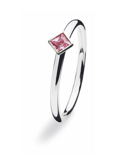 Sterling silver ring with rose cubic zirconia.