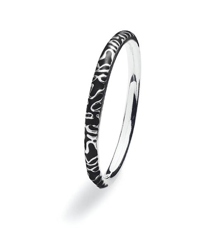 Sterling silver ring with black enamel band design.