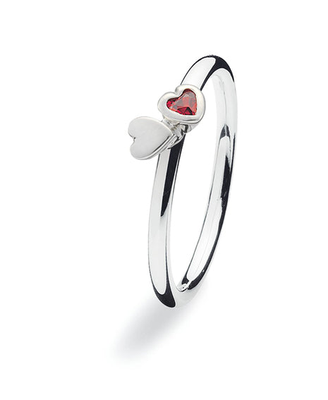 Sterling silver ring with cubic zirconia featuring two hearts.