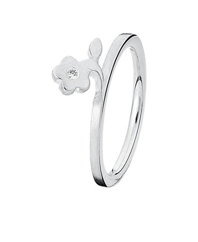Sterling silver ring with cubic zirconia featuring flower setting.