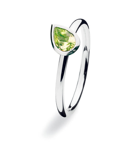 Sterling silver ring with peridot glass with tear shaped setting.