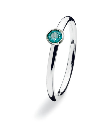 Sterling silver ring with turquoise glass.