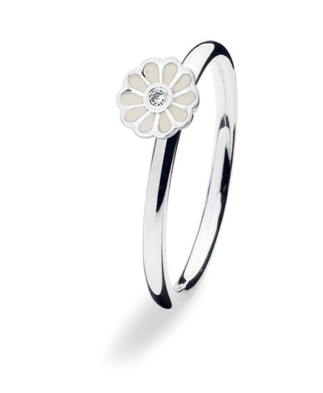 Sterling silver ring 149-08 : MINI BLOSSOM, white