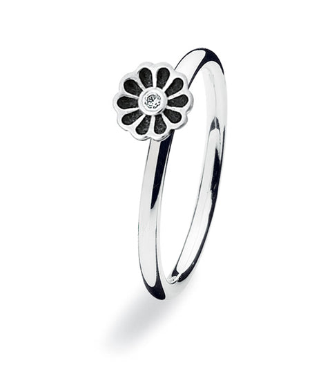 Sterling silver ring with cubic zirconia featuring black enamelled flower setting.
