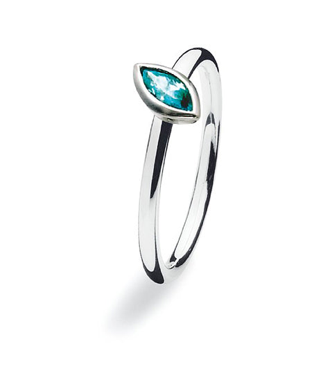 Sterling silver ring with blue stone setting.