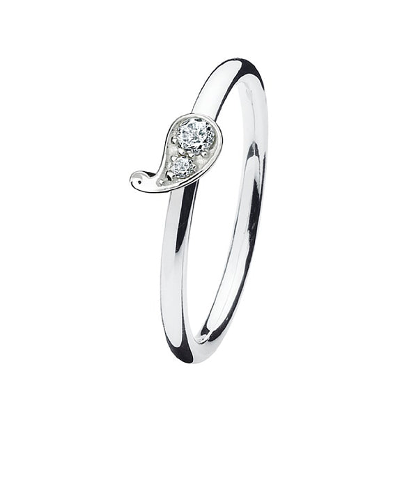 Sterling silver ring with cubic zirconia featuring paisley design setting.