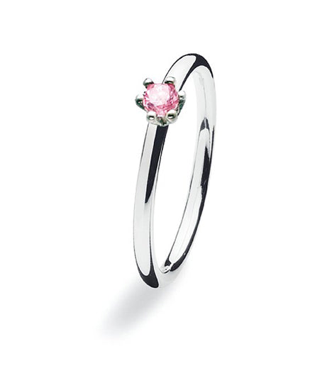 Sterling silver ring with classic setting of rose cubic zirconia.