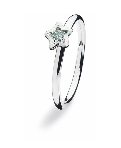 Sterling silver Spinning ring with cubic zirconia featuring star shaped setting.