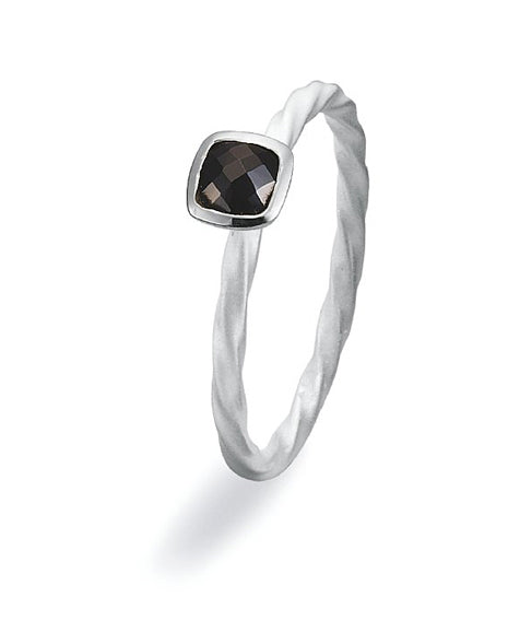 sterling silver ring with cubic black zirconia.