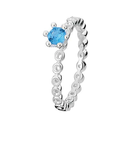 Sterling silver ring with blue cubic zirconia