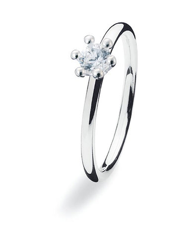 Sterling silver ring with cubic zirconia.