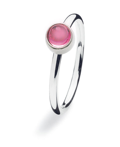Sterling silver ring with rose glass setting.