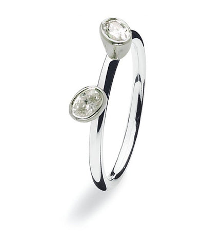 Sterling silver ring with two elliptical cubic zirconia settings