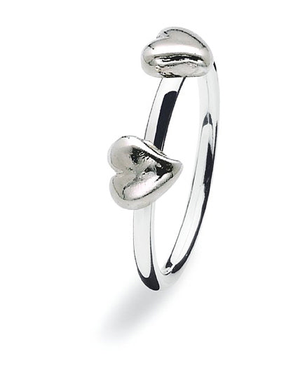 Sterling silver ring with two heart motifs.