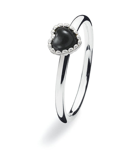 Sterling silver ring with with heart setting in onyx