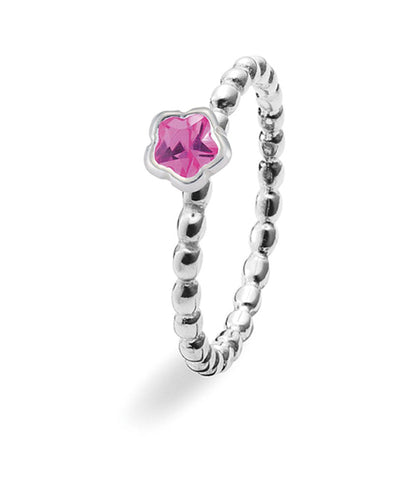 Sterling silver ring with beaded band and pink cubic zirconia setting