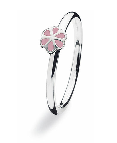 Sterling silver ring with pink enamel blooming flower