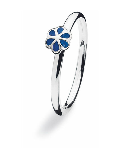 Sterling silver ring with blue enamel blooming flower