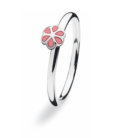 Sterling silver ring with enamelled flower setting.