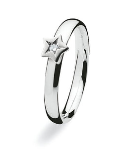 Sterling silver ring with diamond in star setting
