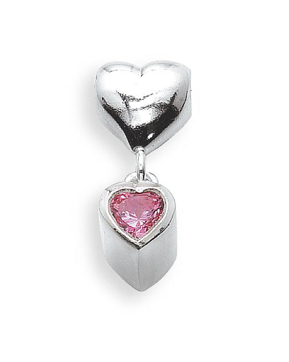 Sterling silver charm with rose cubic zirconia.