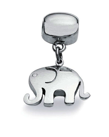 Sterling silver necklace and bracelet charm with elephant motif.