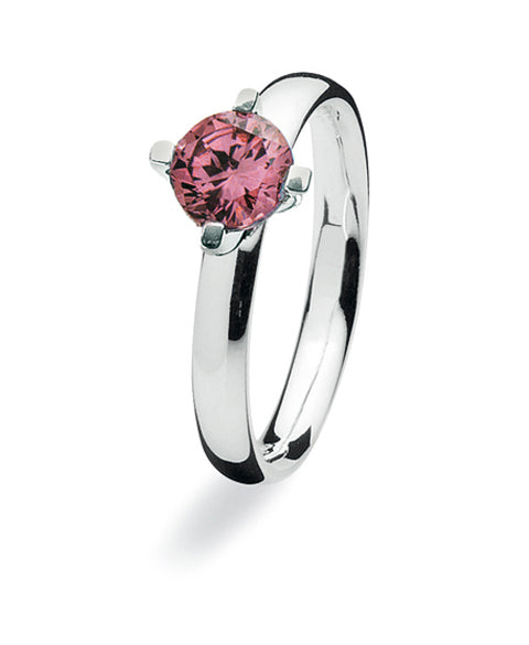 Sterling silver ring with rhodolite setting