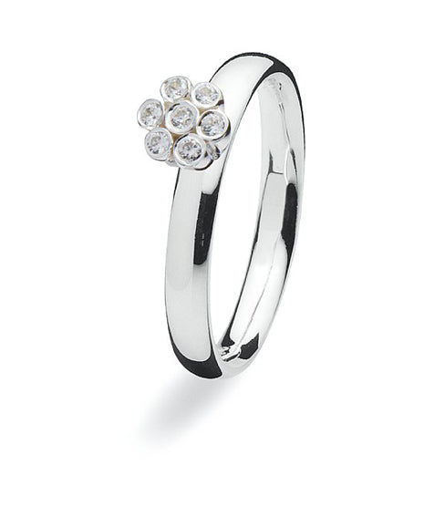 Sterling silver ring with cubic zirconia setting