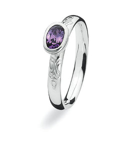 Sterling silver ring with amethyst cubic zirconia